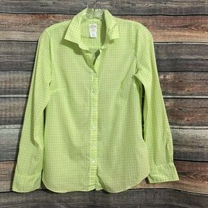 J.crew Size 2 Neon Green Gingham Button Down Long Sleeve Top